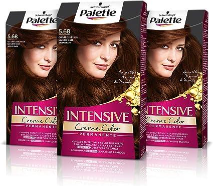 Schwarzkopf Palette Intensive Creme Color – Tono 5.68 cabello Castaño Rojizo (Pack de 3) - Coloración Permanente de Cuidado con Aceite de Marula, ...