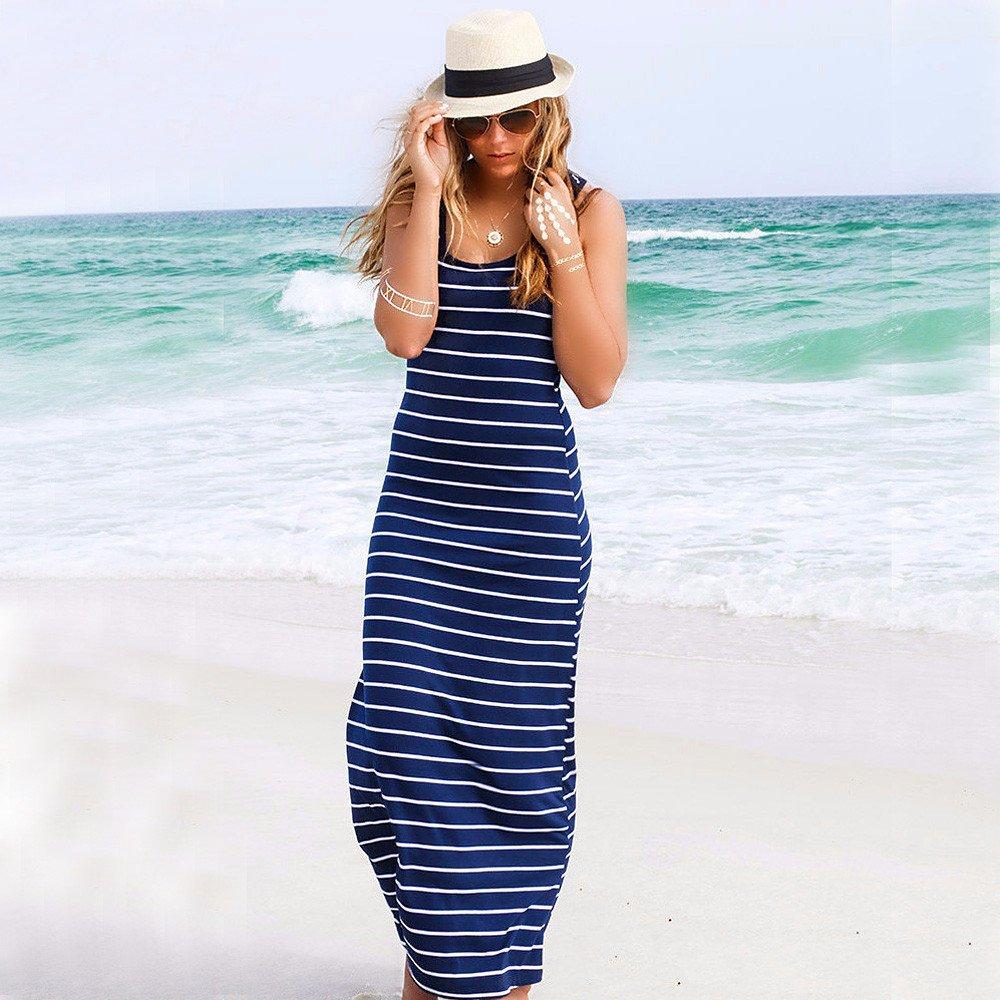 Women Maxi Dress Fashion Sleeveless Striped Loose Hallmark Lady Holiday Resort Beach