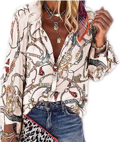 Otoño/Invierno Estampado Cuello Alto Manga Larga Casual Camisa de Mujer: Amazon.es: Ropa y accesorios