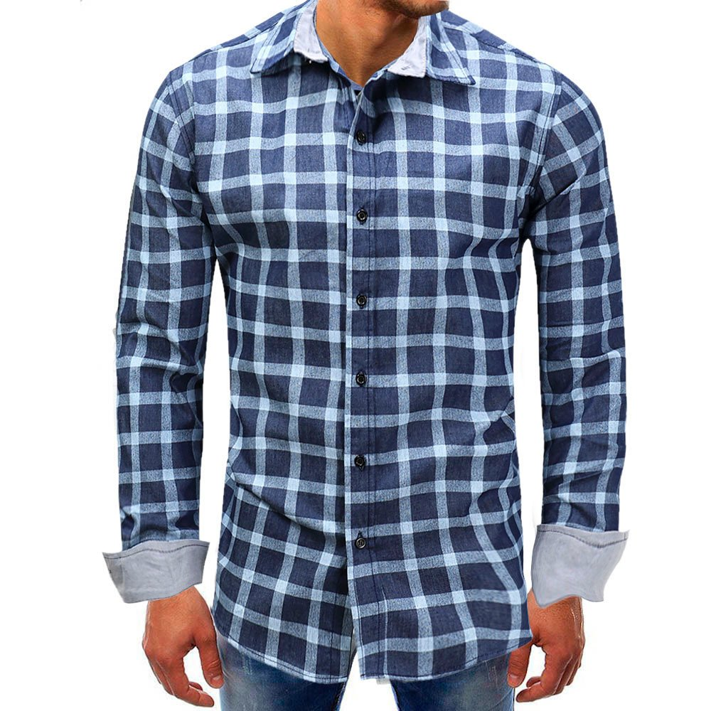 Men shirts Clearance WEUIE Men Lattice Denim Long-Sleeve Beefy Button Basic Solid Blouse Tee Shirt Top (L, Blue)