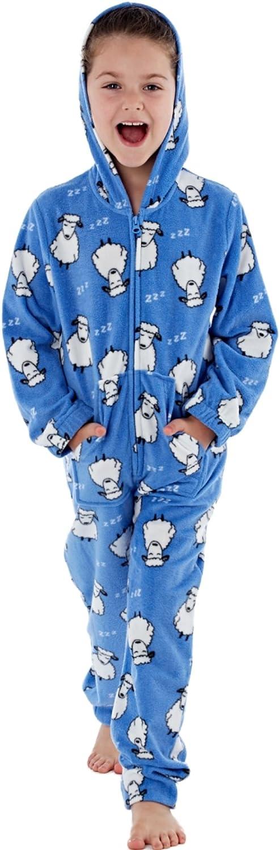 Hooded Polar Fleece Onesies 7-13 Years Girls Sheep Printed Fun Animal Zip Through Blue, 13 Year