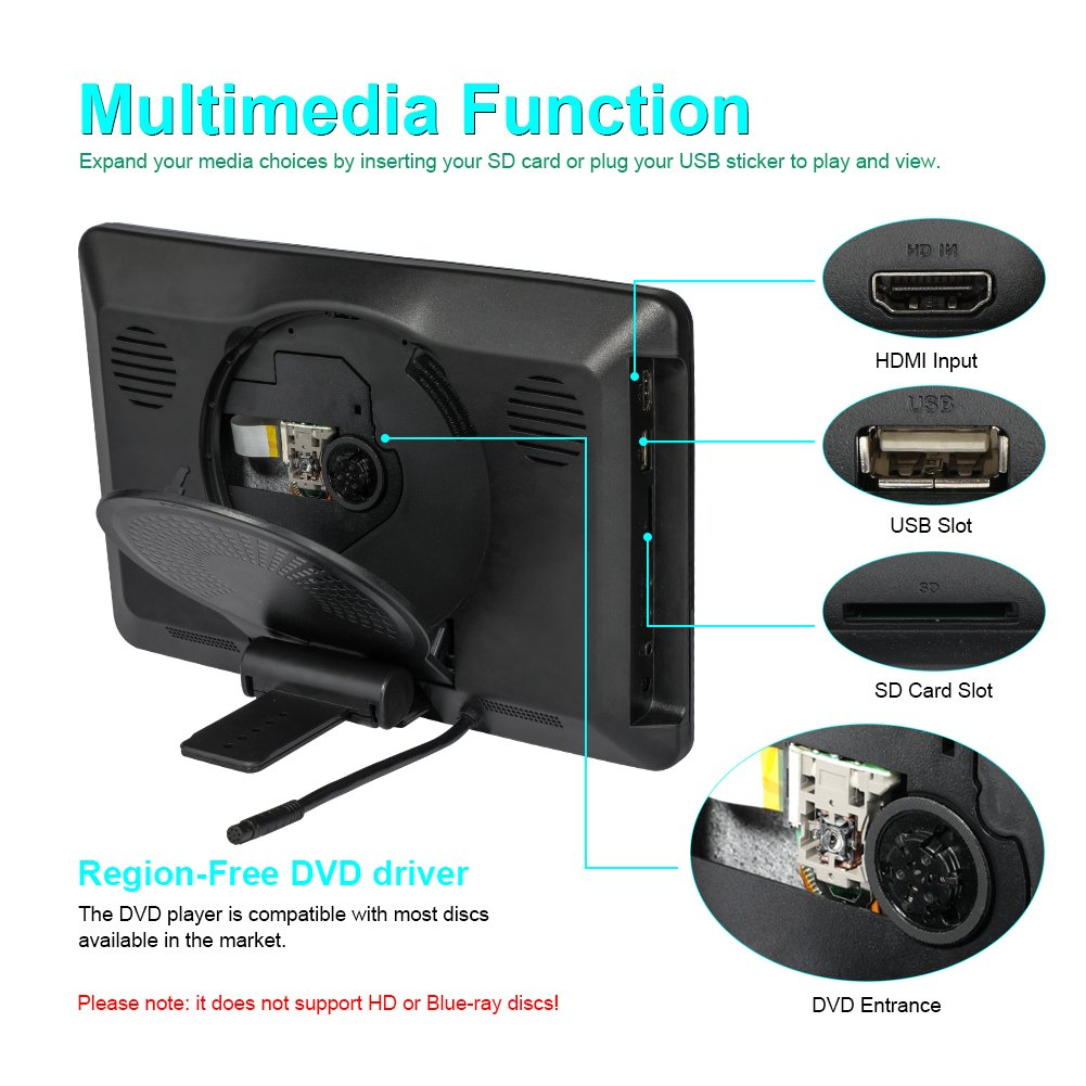 MiCarBa Reproductor de DVD para automóvil con audífonos inalámbricos, 10.1 Pulgadas HD Reposacabezas Reproductor de DVD Vehículo Asiento Trasero Sistema de ...