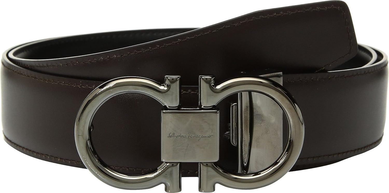 c02b662131514 Amazon.com  Salvatore Ferragamo Men s Adjustable Reversible Double Gancini  Dress Belt Nero Hickory 42  Clothing