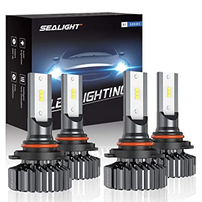 SEALIGHT 9006/HB4 9005/HB3 LED Headlight Bulbs High Low Beam, Combo Package CSP Led Chips Hi/Lo lights - 13000lm 6000K White: Automotive