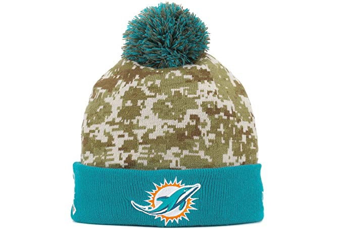 0a025ee8f ... discount new era mens nfl 2015 miami dolphins salute to service knit hat  digi camo size