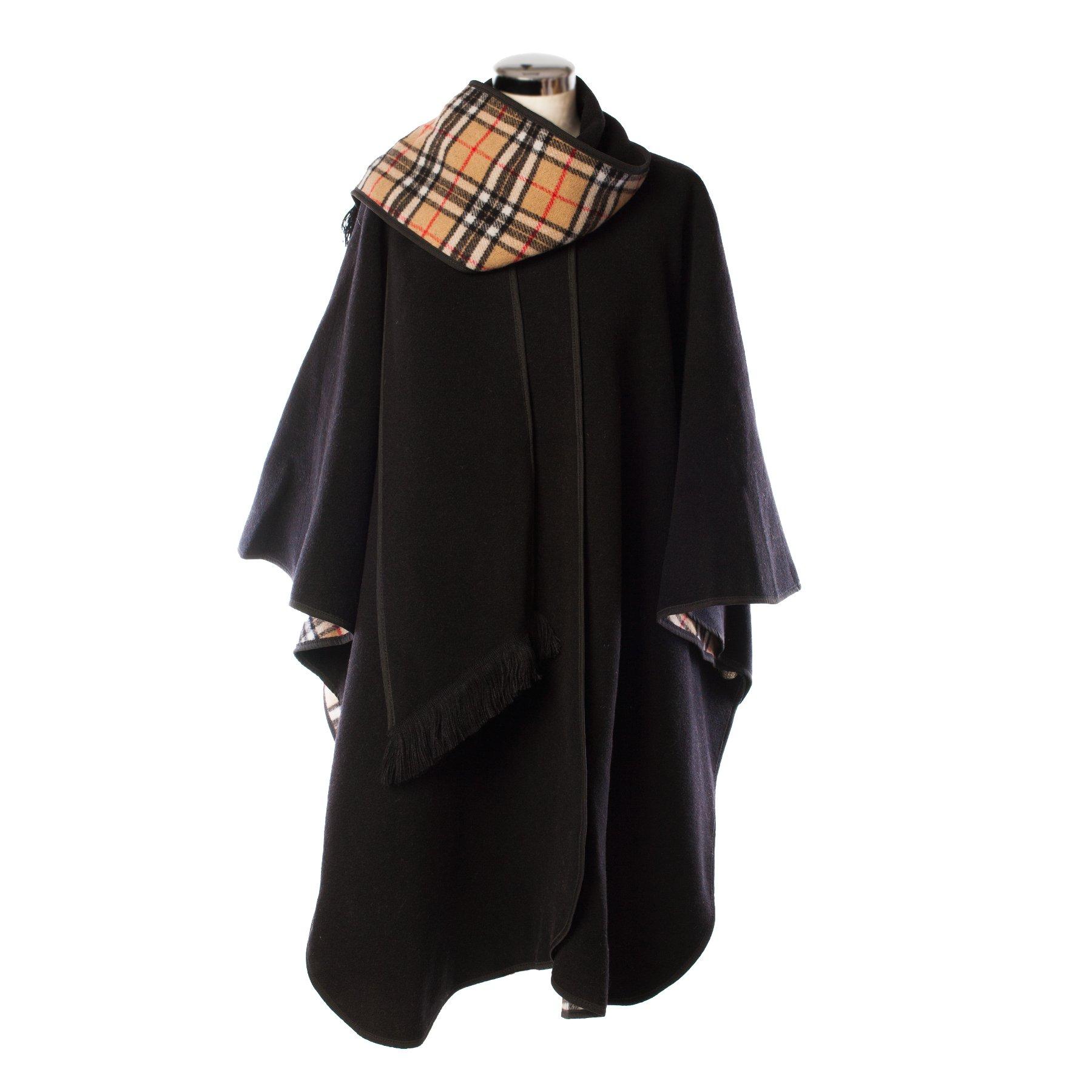 Heritage Of Scotlan Wool Blend Scottish Tartan Reversible Cape Black (One Size)