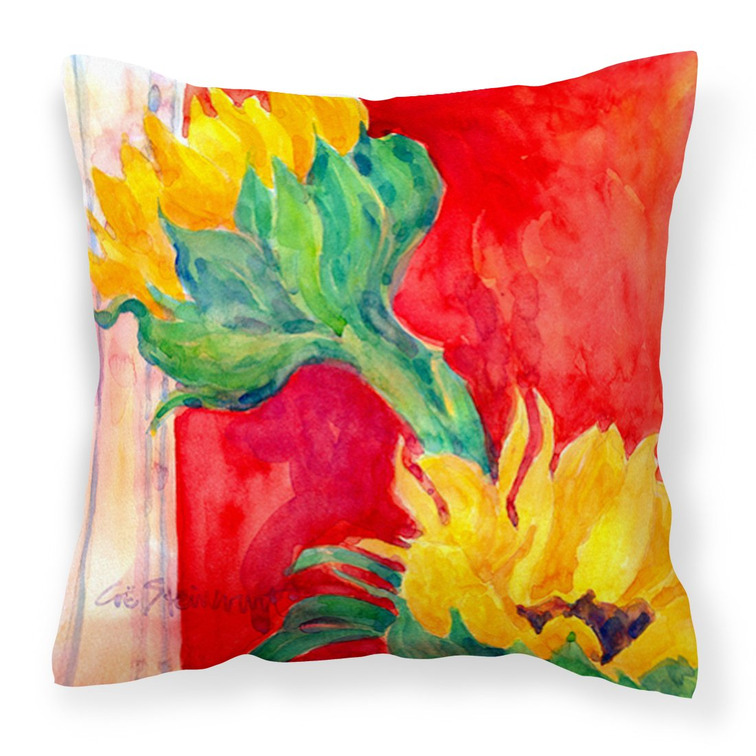 Caroline s Treasures 6111PW1414 Flower – Sunflower Decorative Canvas Fabric Pillow, 14Hx14W, Multicolor