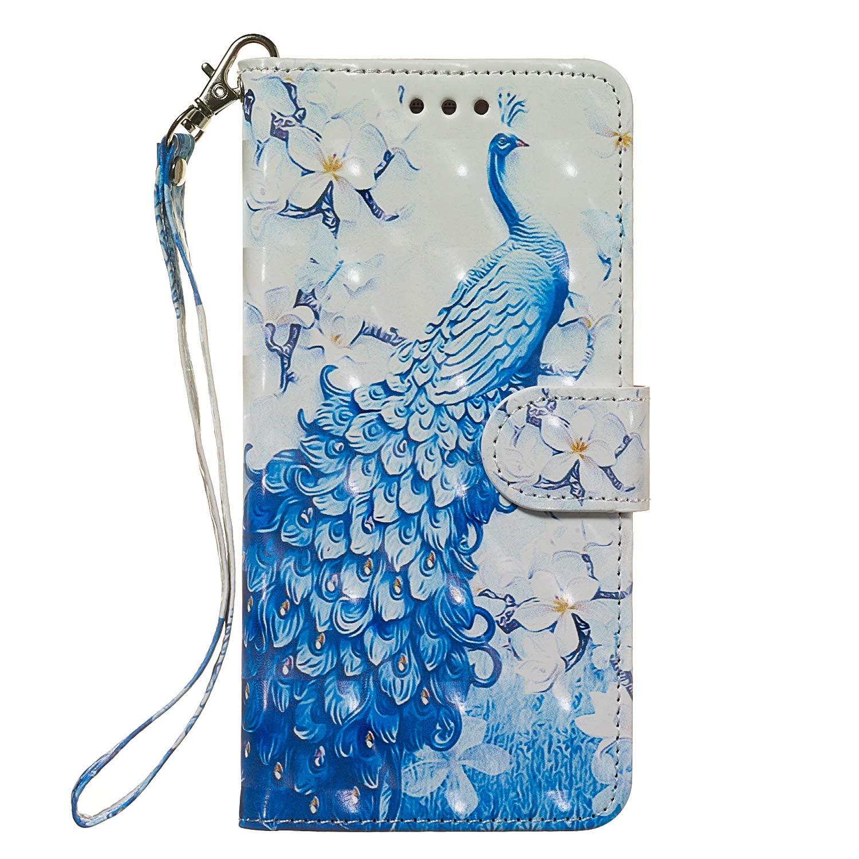 QC-EMART Funda para Samsung Galaxy A50 Carcasa en Piel Libro Ranuras de Tarjeta C/áscara Interior Suave de TPU Soporte Plegable Delgada Antigolpes Fundas Case B/úho