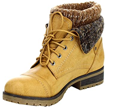 Refresh Wynne-01 Women's Combat Style Lace Up Ankle Bootie Size 10 Tan
