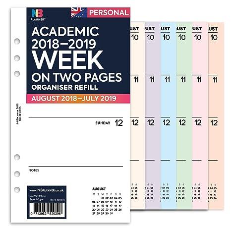 Planificador semanal académico 2018-2019, en dos páginas, agenda en inglés con inserto