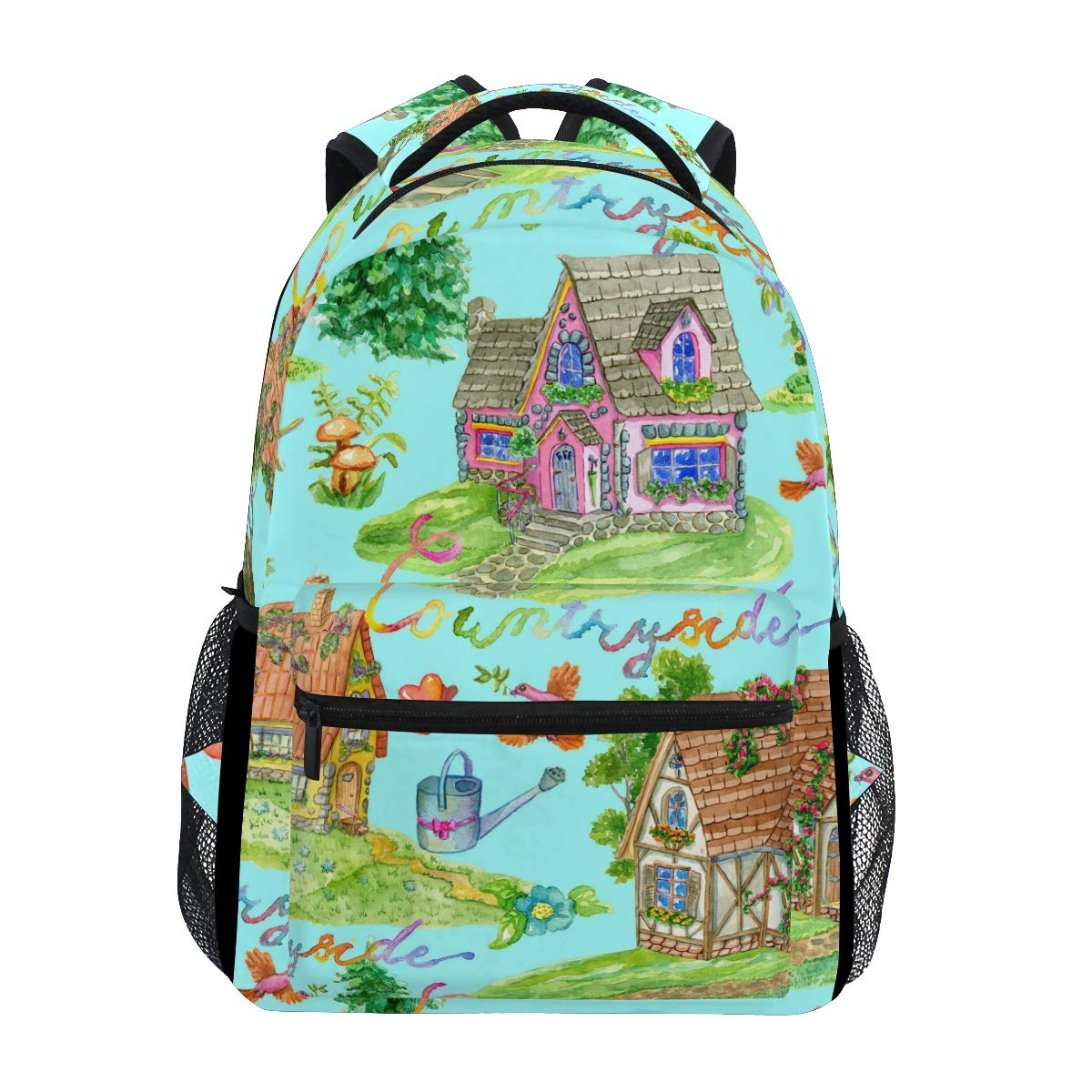 AHOMY ガールズ スクールバックパック 水彩 ガーデンハウス 鳥 カレッジブックバッグ レディース 旅行 リュックサック   B07G82WLSD
