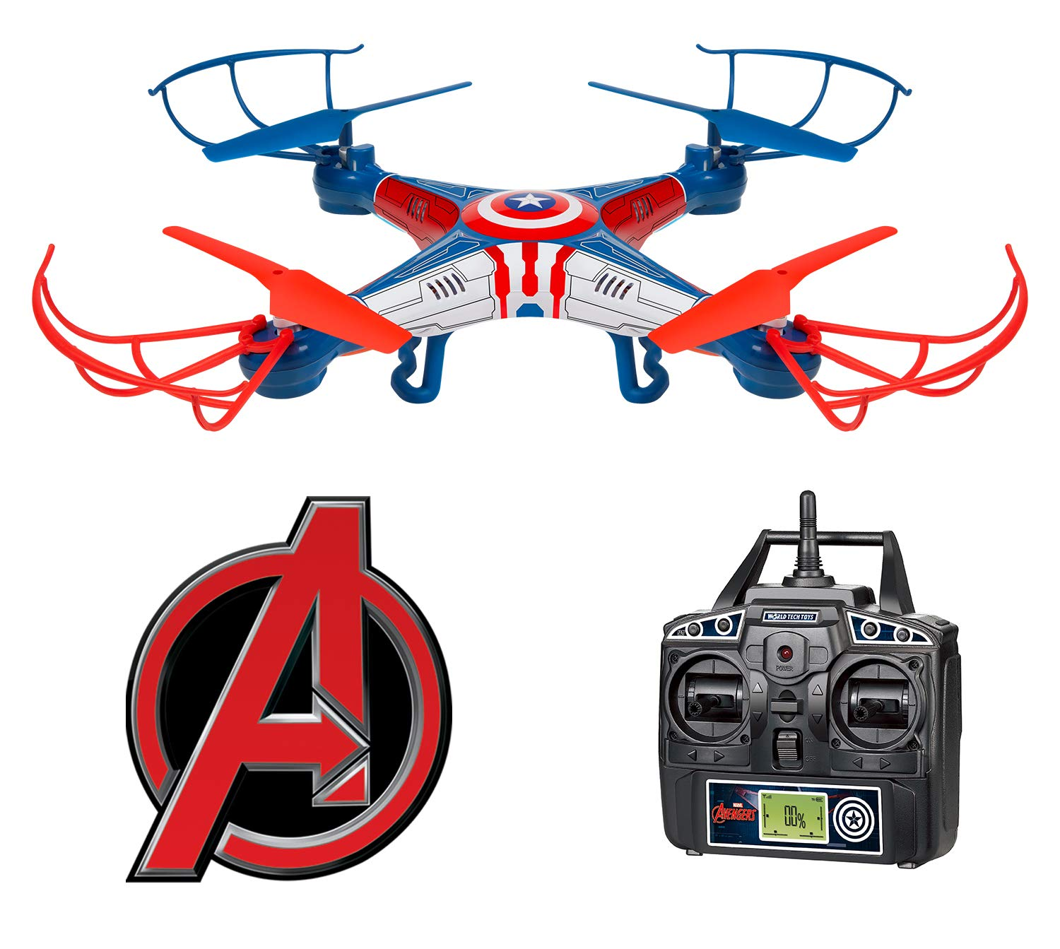 World Tech Toys 2.4Ghz Marvel - Captain America Sky Hero 4.5 Channel RC Drone by World Tech Toys
