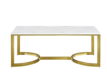 Meridian Furniture 217 C London Rich Gold Stainless Steel Coffee Table With  Genuine Marble Top