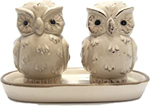 3 Piece Owl Salt and Pepper Shaker With Tray (Brown) | Boxed Set Perfect For Gifts | House Warming | Wedding Favours | Restaurant | Wedding Gift | Great for Collectors | Kitchen Decor | Bird Theme