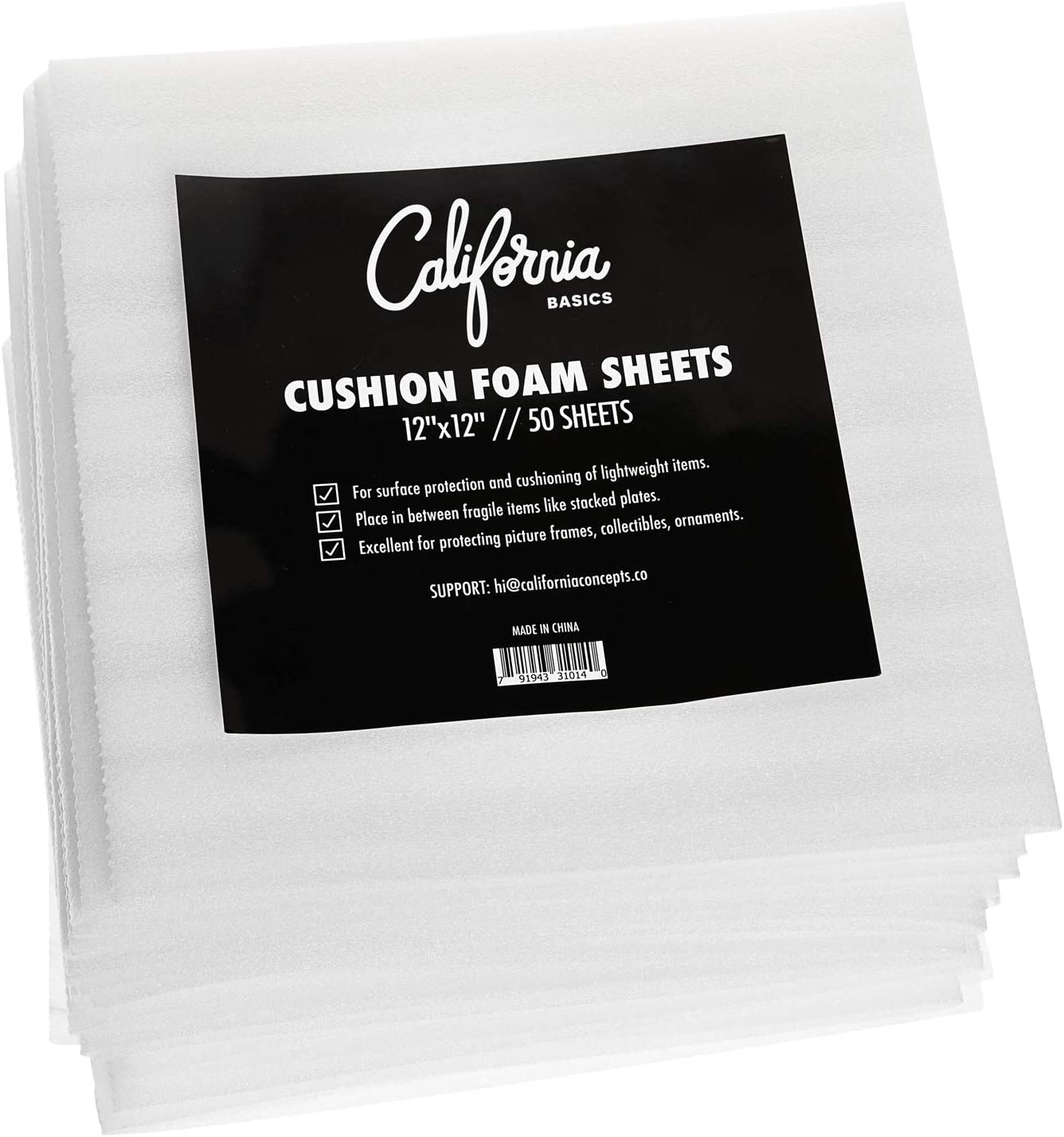 "USA Moving Supply Cushion Foam Sheets 12"" x 12"" (50 Count), Packing Foam Supplies for Moving, Safely Wrap Dishes, Glasses & Furniture Legs: Toys & Games"