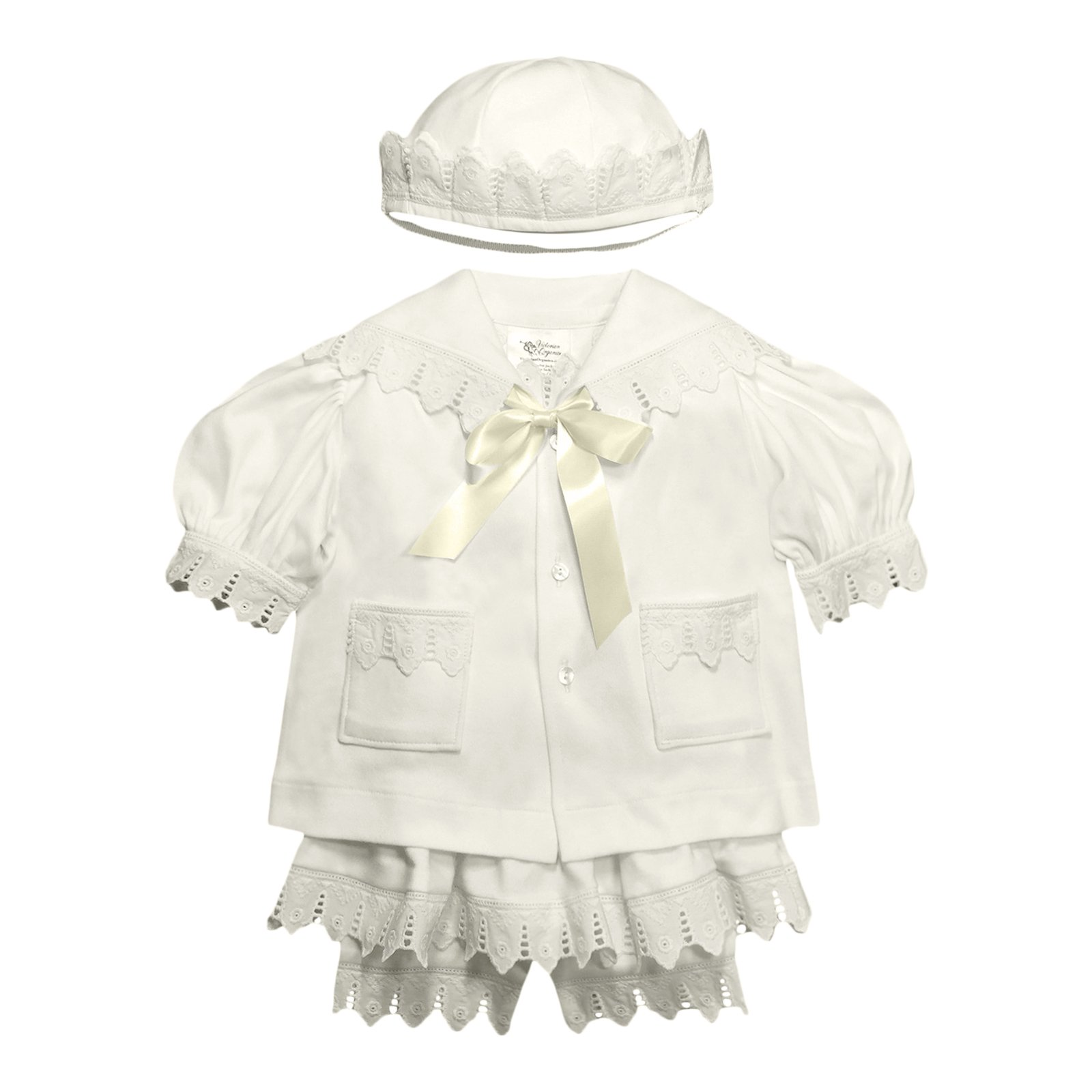 Victorian Organics Baby Girl Sailor Set 4 Piece Organic Cotton Knit and Eyelet Lace Trim Jacket Hat Dress and Bloomers (NB 0-3 months)