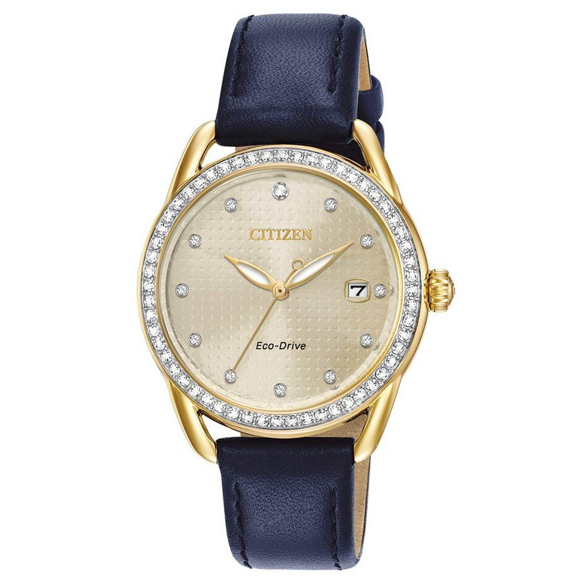 Ladies' Drive from Citizen LTR Gold-Tone Dial and Navy Blue Leather Strap Watch FE6112-09P