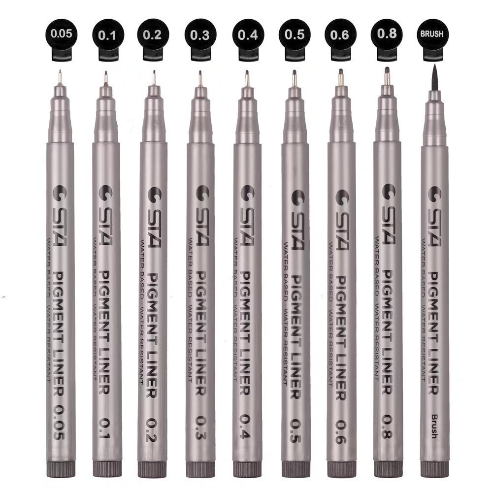 Black Micro-line Pens for Drafting - Ultra Fine Point Technical Drawing Pen Set, Anti-Bleed Fineliner Ink Pen for Multiliner, Illustration,Anime,Office, Sketching, Scrapbooking, Signature, 9 Size/Set