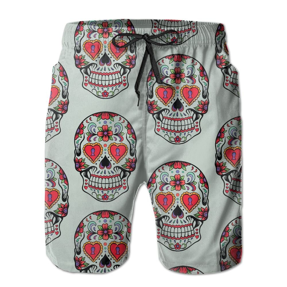 Men's Sugar Skull Mexico Mexican Quick Dry Lightweight Fashion Board Shorts Swim Trunks L