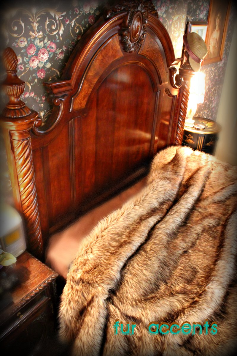 Fur Accents Faux Fur King Size Bedspread / Throw Blanket / Wolf, Coyote /96'' X 120''