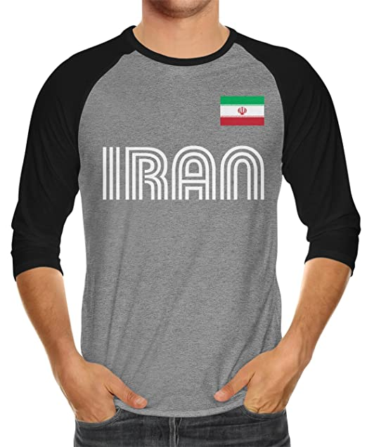 3b70da5ba2b SpiritForged Apparel Iran Soccer Jersey Unisex 3/4 Raglan Shirt,  Black/Heather XS