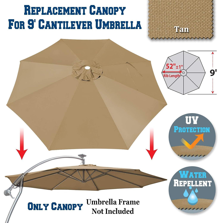 BenefitUSA 9ft- 8rib Umbrella Top Cover Canopy Patio Replacement Canopy Outdoor Tan