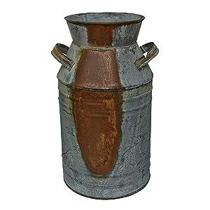"Milk Can - 7"" Galvanized Finish - Country Rustic Primitive Jug Vase"