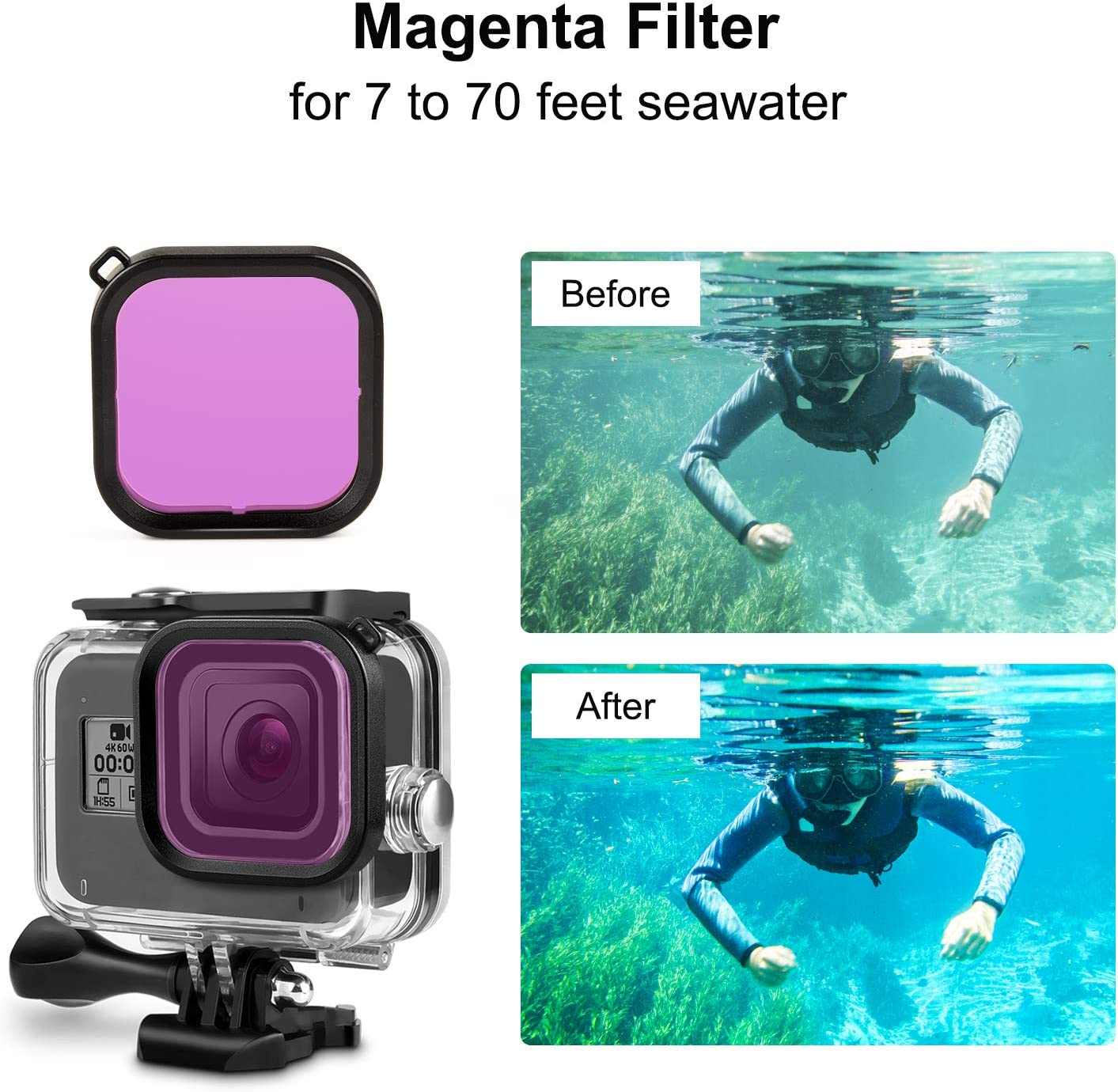 Red, Light Red, Magenta 3-Pack Kupton Diving Lens Filters Accessories for GoPro Hero 8 Black ONLY Fits Kupton Waterproof Housing Case for GoPro Hero8 Action Camera Snorkel Scuba Filter Kit
