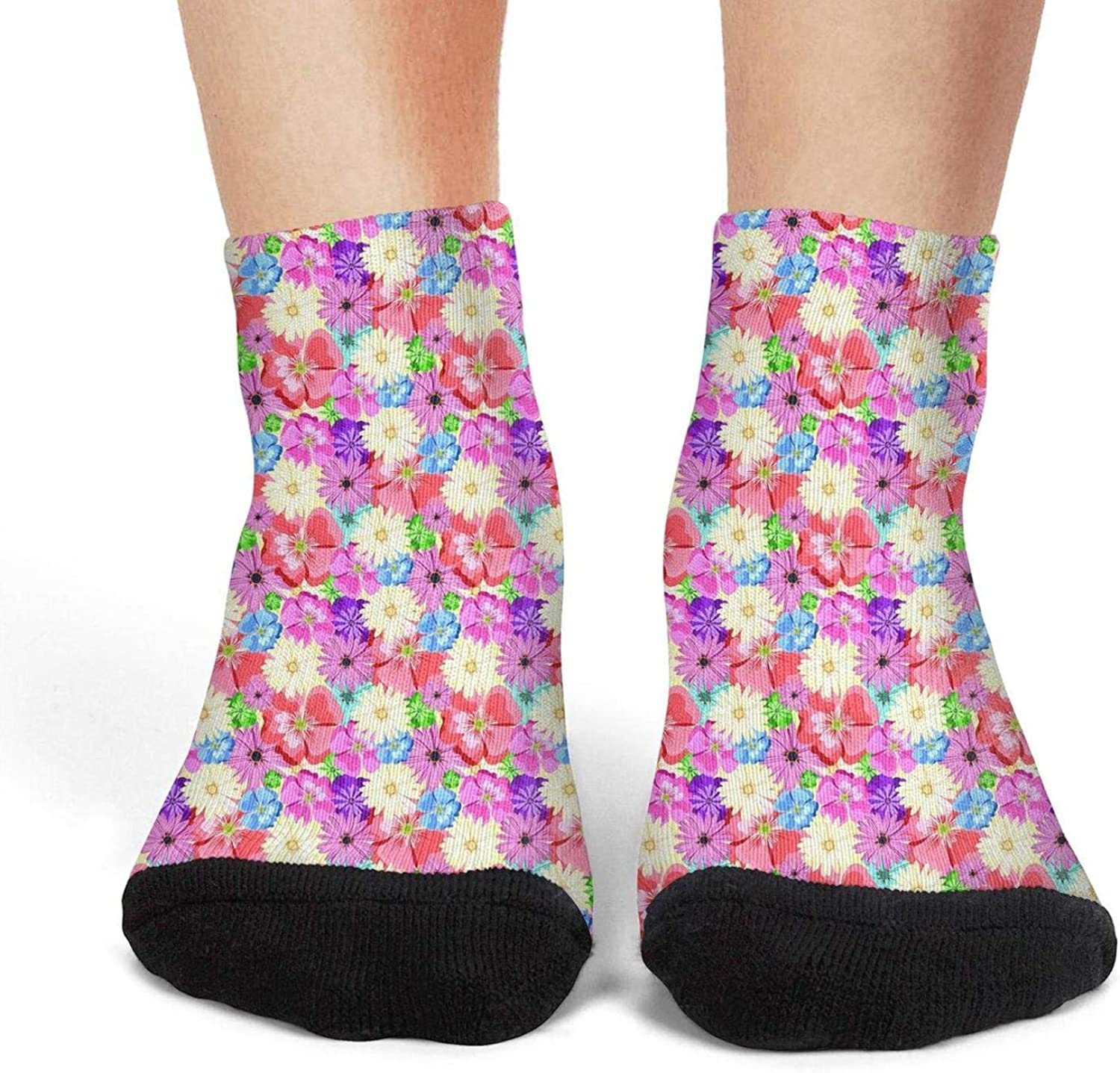 Womens athletic socks abstract red flower vector pattern seamless Thin Casual Warm Vintage running socks