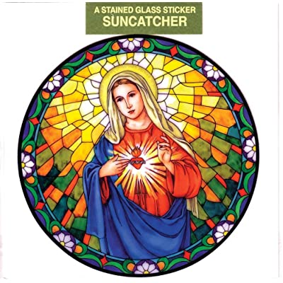 Immaculate Heart of Mary Window Decal, Reusable Vinyl Suncatcher, Stained Glass Design: Everything Else