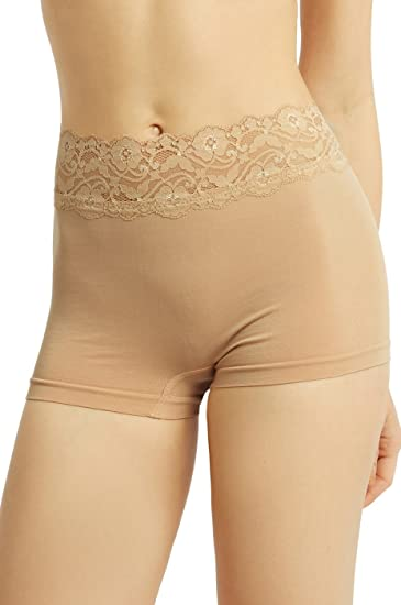 c9643915d19 Sofra Women s High Rise Seamless Boyshorts with Lace Waistband (Beige)