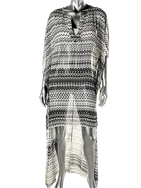 1e0ac667cc2 ELAN NEW Black White Chiffon Geometric PRINT High-Low MAXI DRESS ...