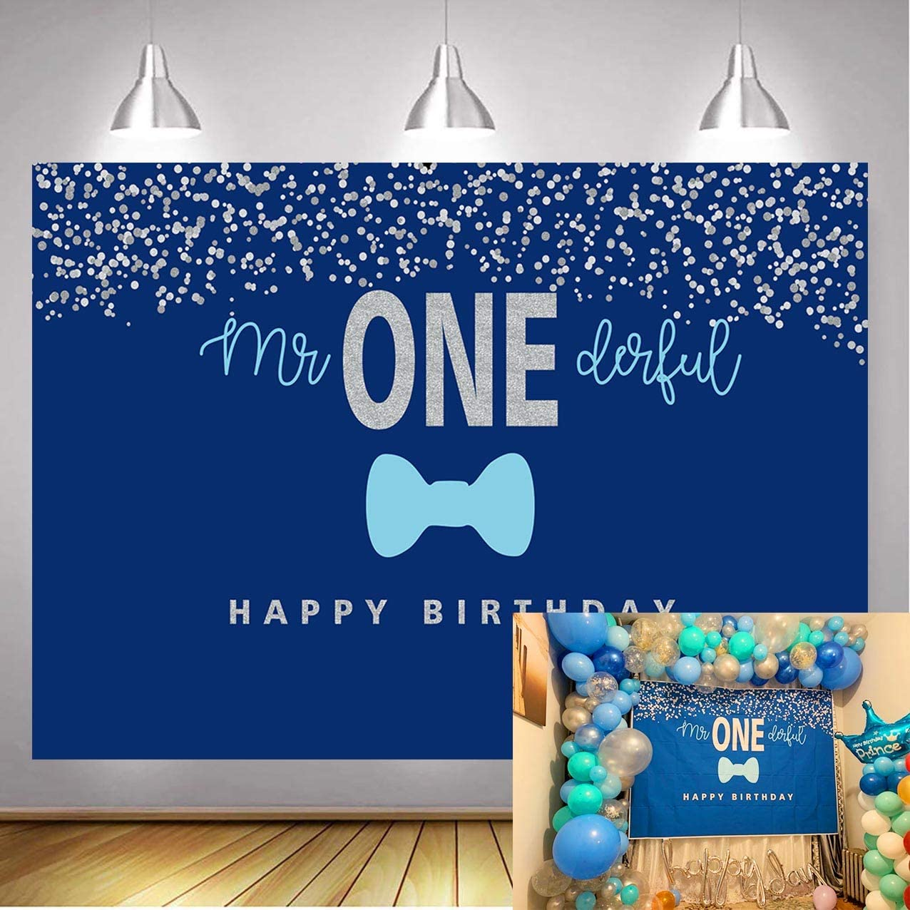 Botong 5x3FT Boys 1st Birthday Mr. Onederful Backdrop Blue Bow Tie Blue and Silver Photography Background Baby Shower Boy Toddler Little Man First Birthday Cake Table Decorations Photoshoot Banner