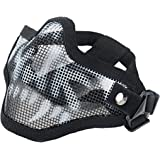 Coxeer Airsoft Mask Half Face Mask Steel Mesh Mask Paintball Skull Mask for Airsaoft Outdoor