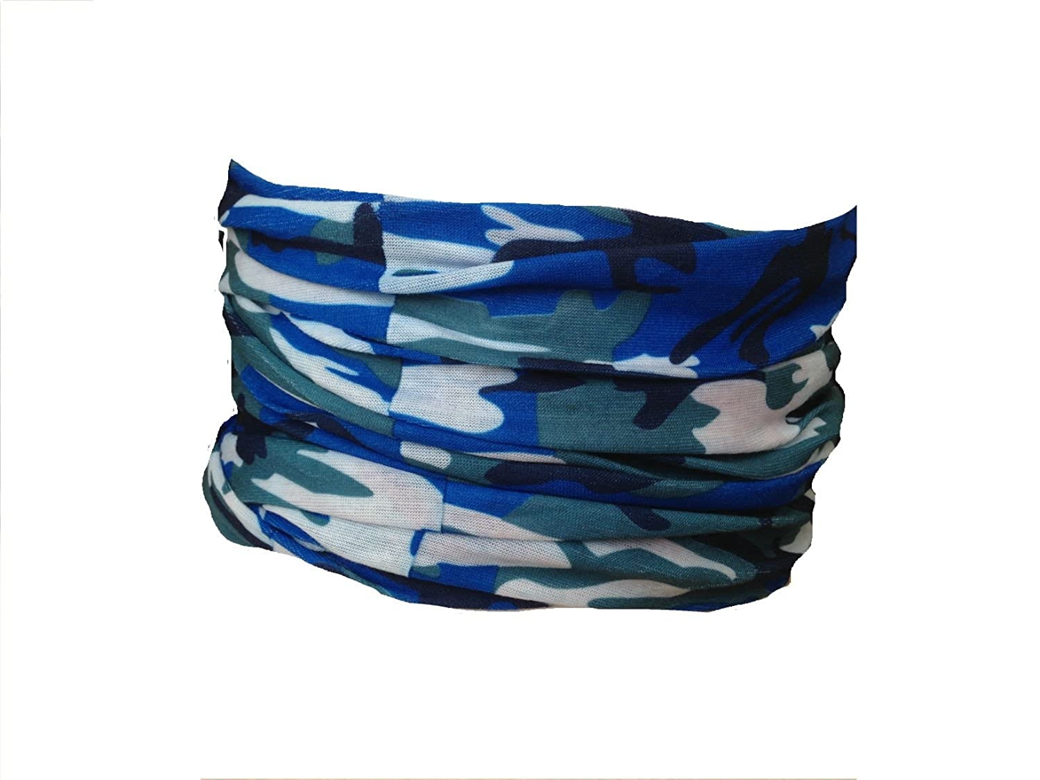 Multifunction Neckwarmer, Snood, Hat, Scarf and Hood in Blue camo print by Monogram