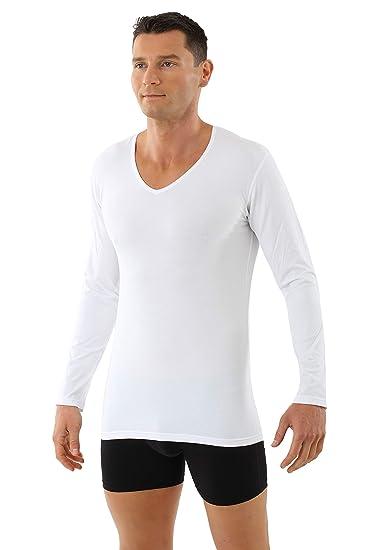 ALBERT KREUZ Camiseta Interior de Manga Larga Cuello en V de algod/ón org/ánico el/ástico Blanco