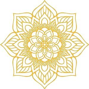"Vinyl Wall Art Decal - Flower Mandala - 23"" x 23"" - Adhesive Vinyl Sticker Decals - Home Apartment Workplace Decor - Yoga Studio Namaste Meditation Mandala Bohemian Flower (23"" x 23"", Yellow)"