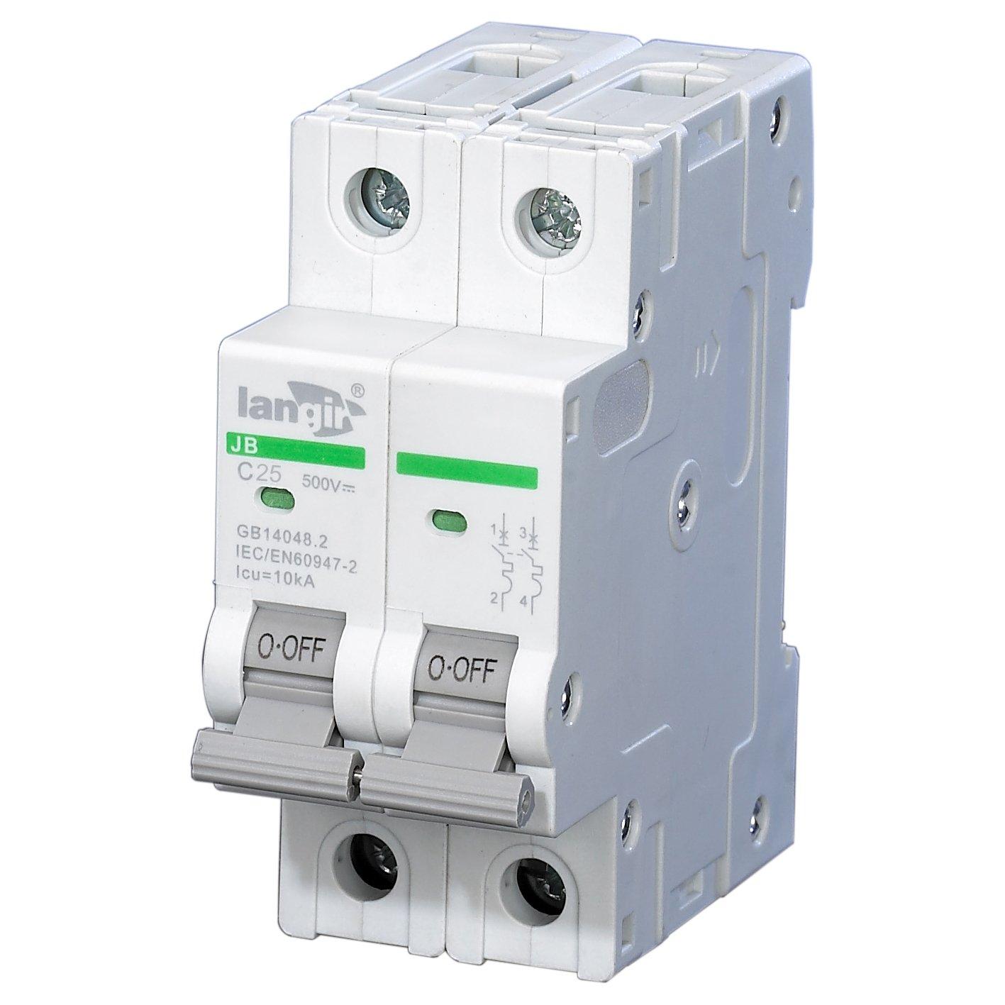 langir 25 A 500 V 2 Pole Energí a Solar Fotovoltaica de montaje en panel DC interruptor de circuito interruptor C curva con TUV Certificados LANGIR Electric Co. Ltd.
