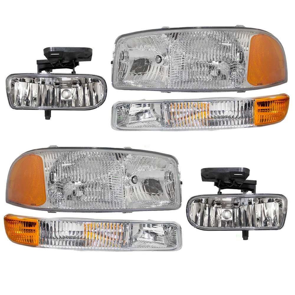 6 Piece Set of Headlights Signal Marker Lamps & Fog Lights Replacement for GMC Pickup Truck 10385054 10385055