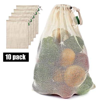 BUDAIDAI 10 Paquetes de Redes de algodón y Vegetales, Bolsas ...
