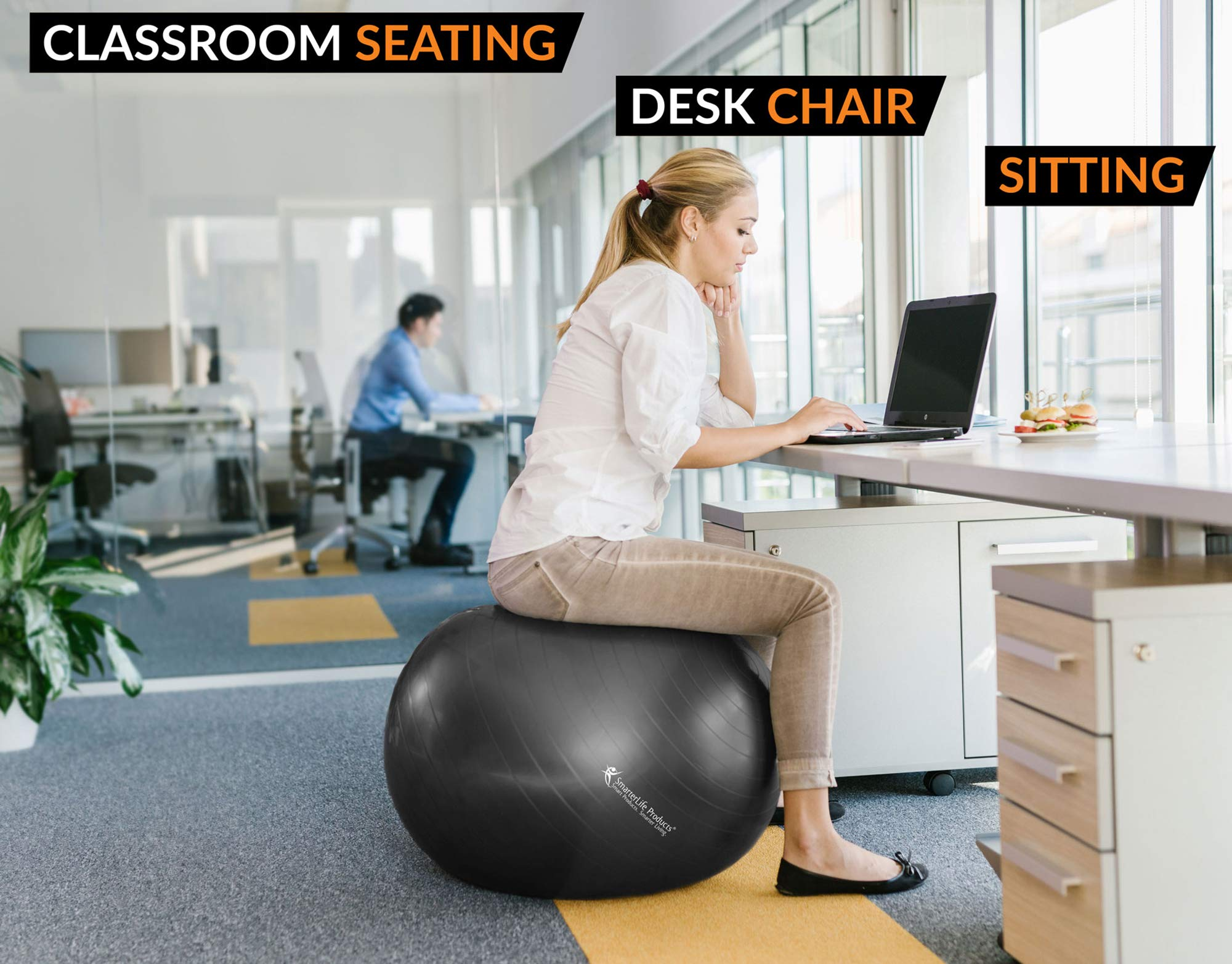 Exercise Ball for Yoga, Balance, Stability from SmarterLife - Fitness, Pilates, Birthing, Therapy, Office Ball Chair, Classroom Flexible Seating - Anti Burst, Non Slip + Workout Guide (Black, 65cm) by SmarterLife Products (Image #5)