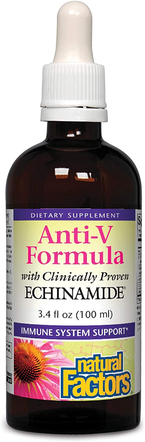 Natural Factors, Anti-V Liquid Formula, Echinacea Supplement for Immune and Wellness Support, Organic, Non-GMO, 3.4 oz (100 servings)