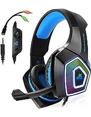 Gaming Headset für PS4 Xbox One PC,Stereo Sound Gaming Kopfhörer mit Mikrofon für Laptop Mac Tablet (Blau)