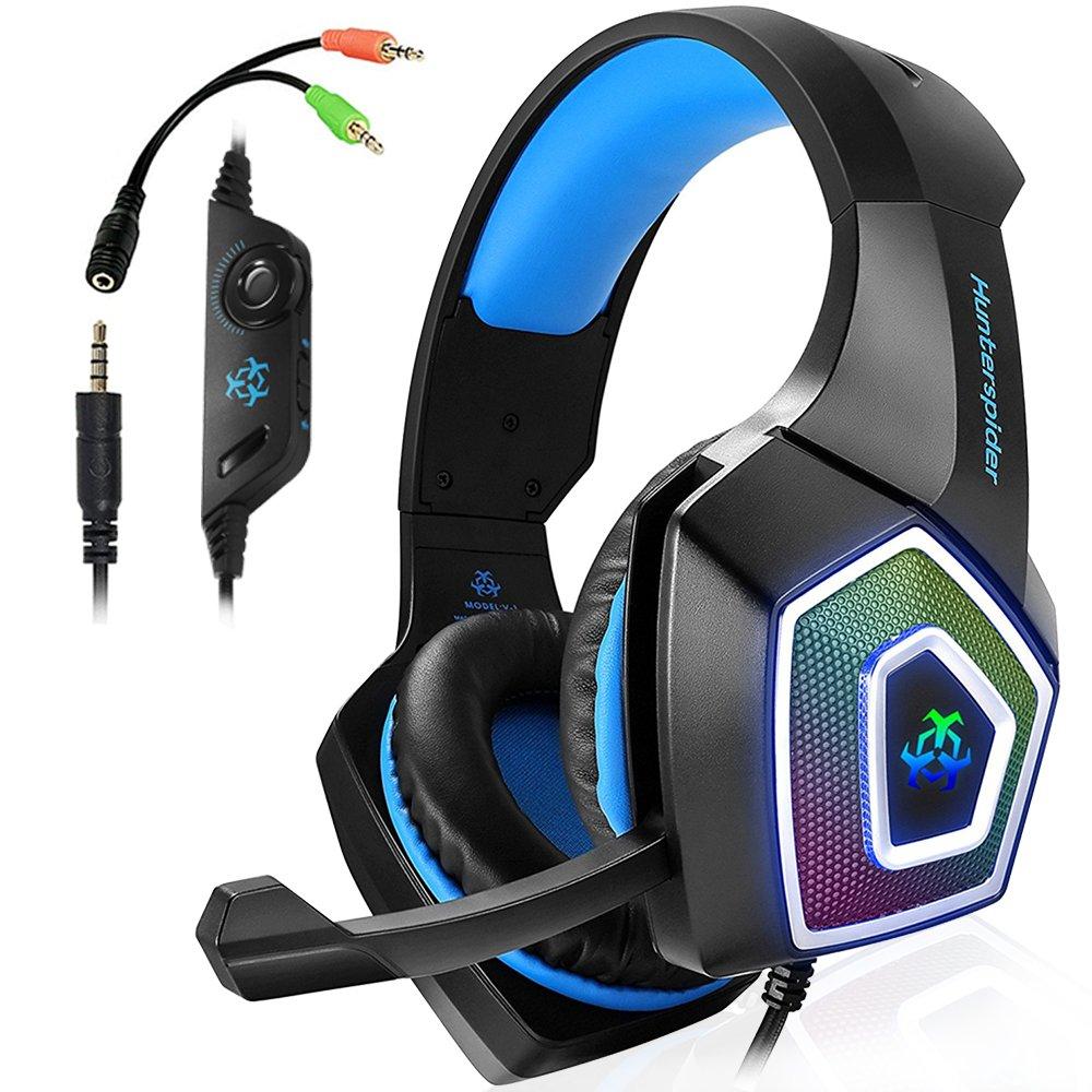 Swenter Gaming Headset para PS4, 3.5 mm Surround Sonido con cable auricular con micrófono, pegatina LED de luz, auriculares para Laptop, Mac, Xbox One, ...