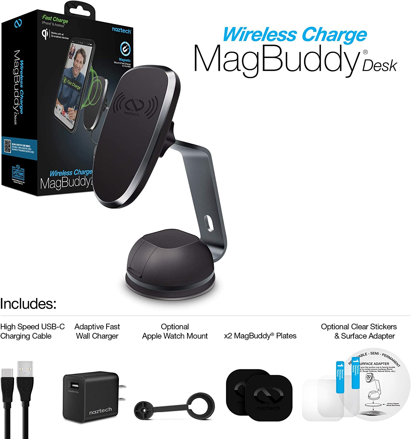 Note10//9//8 Naztech Magbuddy Qi Wireless Charge Desk Mount Fast Charge Compatible for iPhone 11//11Pro//11Pro Max//XR//XS//Max//XS//X//8//8+,Galaxy S20//S10//S9//S8