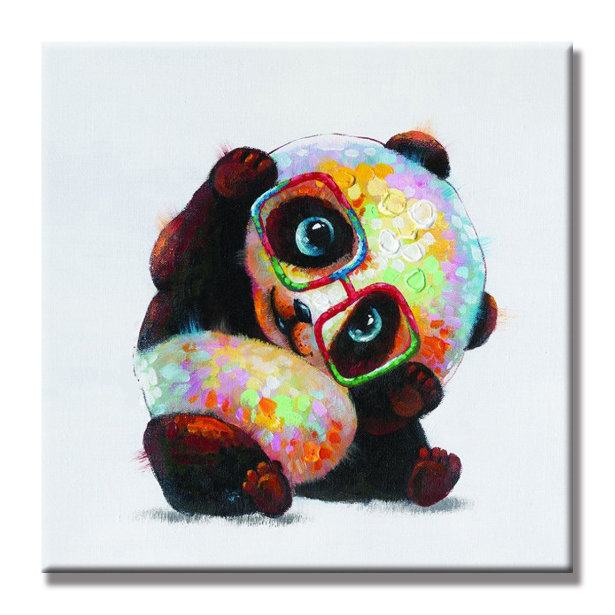 SEVEN WALL ARTS 100% Hand Painted Oil Painting Animal Cute Panda with Stretched Frame 24 x 24 Inch (Panda Wears Glasses, 24 x 24 Inch)