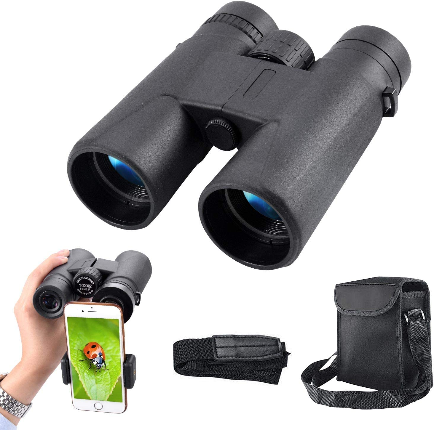 Portable Compact HD Binoculars 10×42 for Adults Waterproof Binoculars with Clear Weak Light Night Vision for Bird Watching, Travel, Stargazing, Hunting, Concerts, Sports