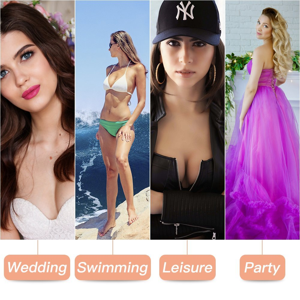 Veroyi Adhesive Silicone Bra, Invisible Strapless Push up Bra, Free Nipple Cover, Portable Storage Case.