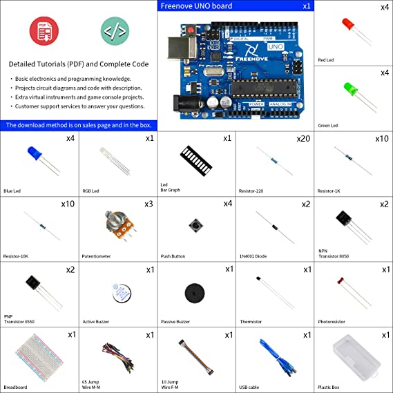Freenove Basic Starter Kit with UNO R3 (Arduino-Compatible), 96 Pages  Detailed Tutorial, 150 Items, 19 Projects, Solderless Breadboard