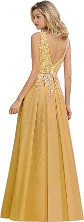 MisShow Damska Faltenrock Abendschlusskleid Cocktailkleid Tief-Ausschnitt Hochzeitskleid Gold-44: Odzież